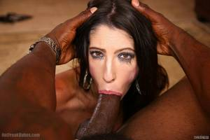 Sexy brunette gets throat fucked