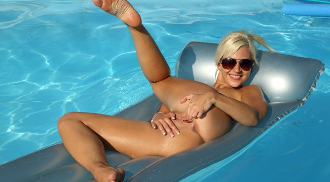 ALS Scan - SUMMER SHINE with Tracy Lindsay tracy_010.jpg Oiled Up Tracy Lindsay Toys Brush and Bottle by Pool!