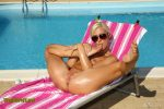 ALS Scan - SUMMER SHINE with Tracy Lindsay tracy_001.jpg Oiled Up Tracy Lindsay Toys Brush and Bottle by Pool!