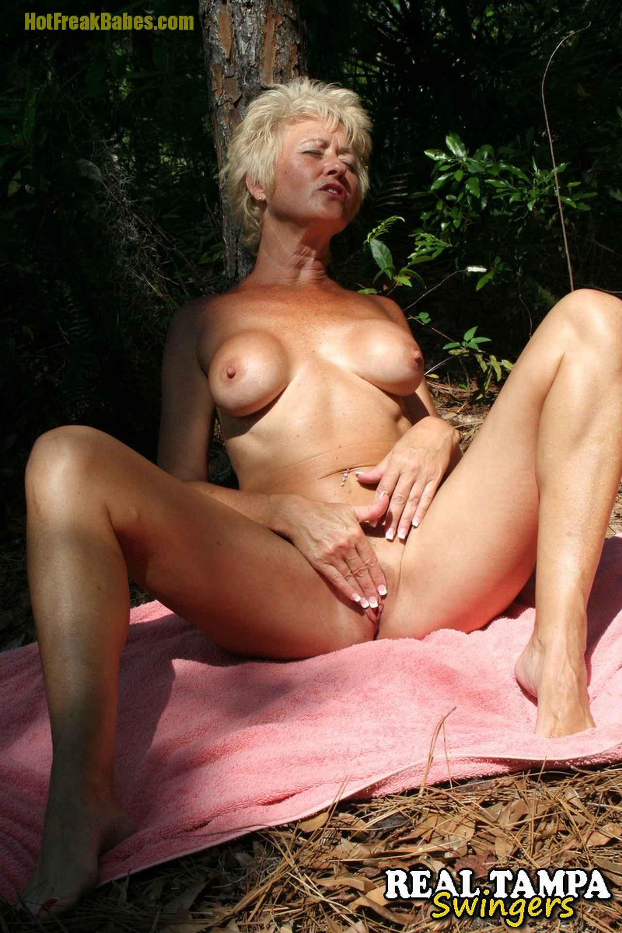 Tracy Lick, Real Tampa Swingers - Tracy Gets Naked in The Woods, mature nude, hot wife, hot wives, swinger, swingers, mature blonde, Real Tampa Swingers, hardcore movies, real amateur swingers, housewives fucking, sex parties